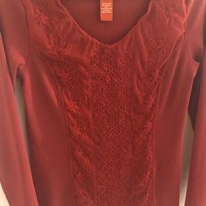 Sundance Rust Color Floral Lace Knit Top Medium
